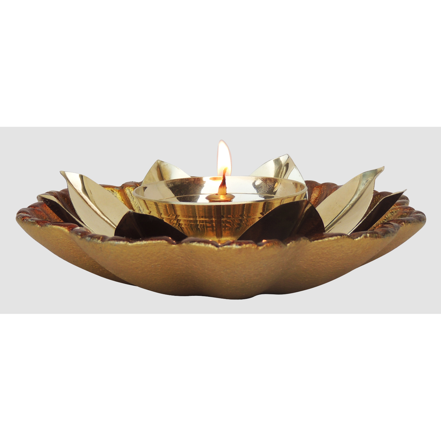 Brass And Aluminium Diya Deepak - 5.6 inch (Z133 C)