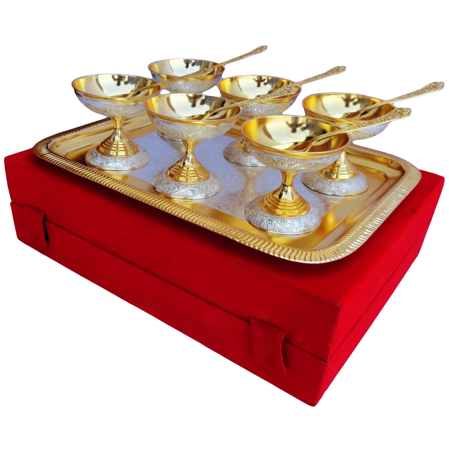 6 Ice Cream Bow Set Of 13 PCs Gold And Silver Finish (B160)