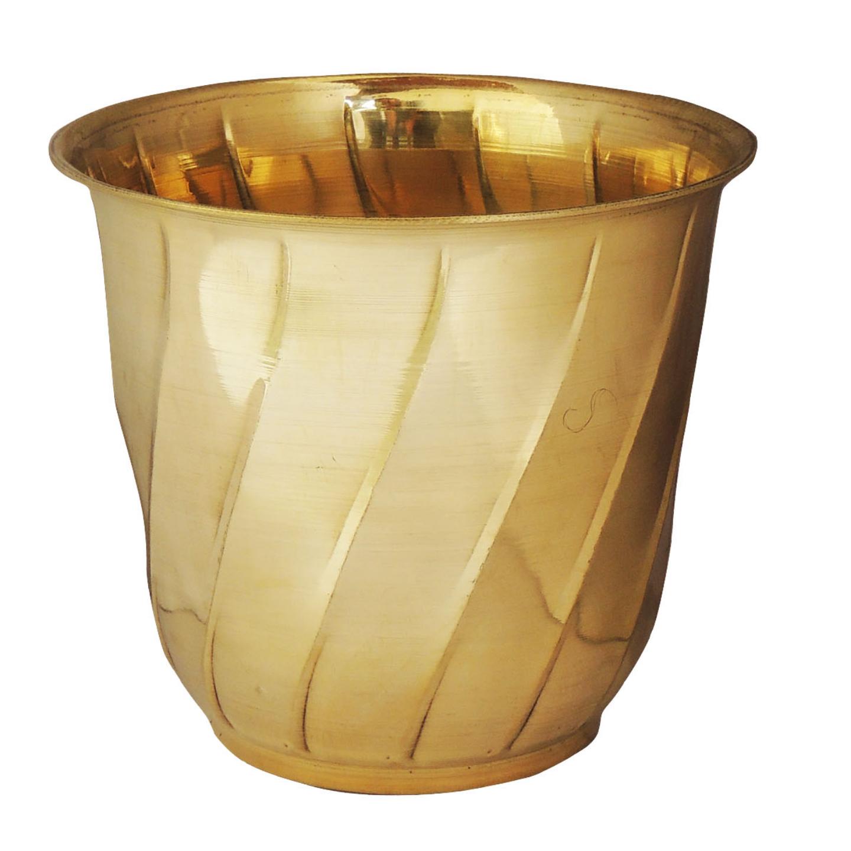 Brass planter Pot Gamala Diameter 8 Inch weight 460 gm  (F653 E)