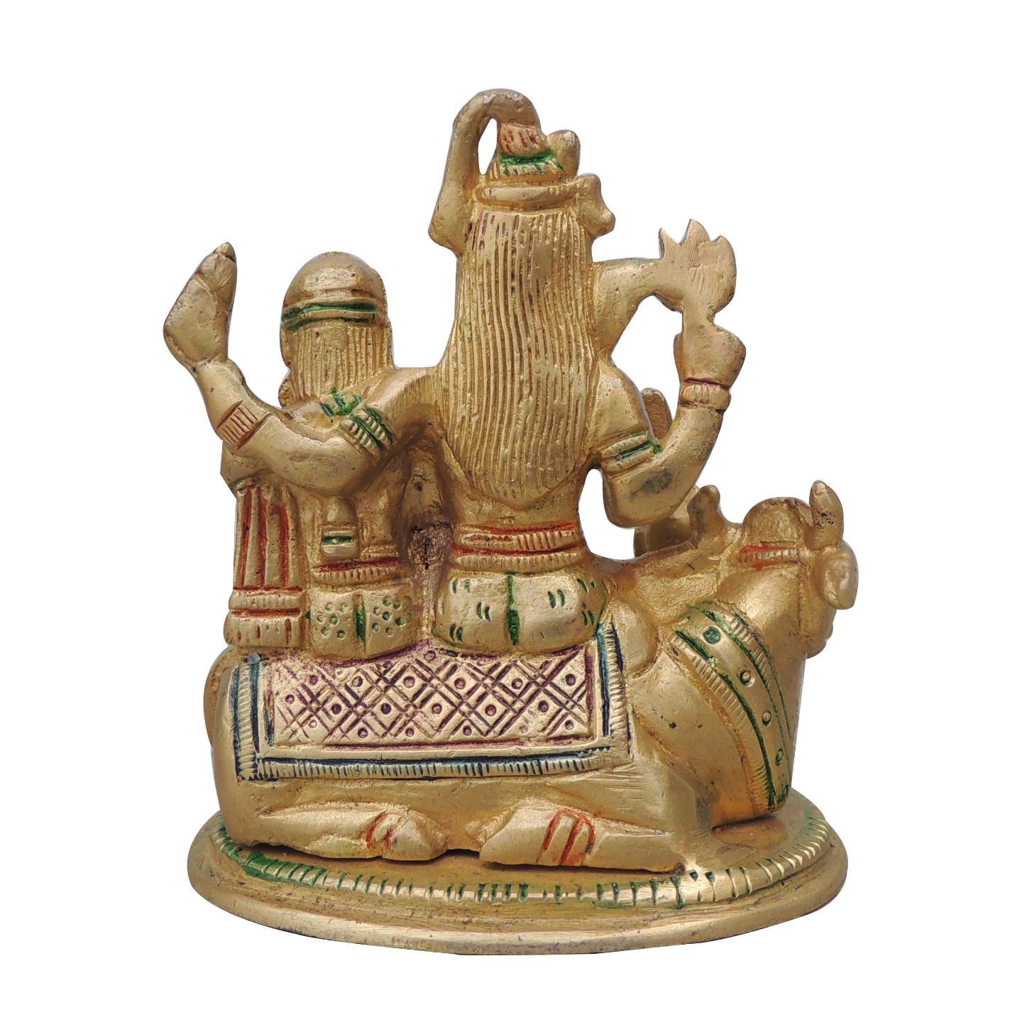 Brass Parvati Statue Murti Idol in Mulitcolour Lacquer Finish 2.2 kg - 4.5312 Inch  BS1066 P