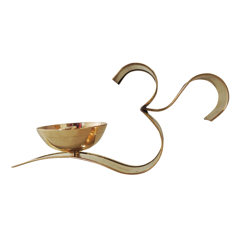 Brass Om With Attached Deepak - 7.5 Inch, No. 3.5,  Z489 C