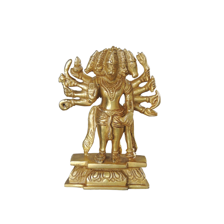 Brass Panchmukhi Hanuman Idol Murti Statue 1.6 Kg - 7 Inch  (BS1039 F)