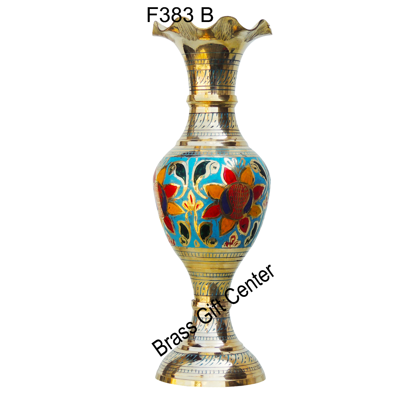 Brass Coloured Flower Vase with handwork - 4412 Inch  F383 B