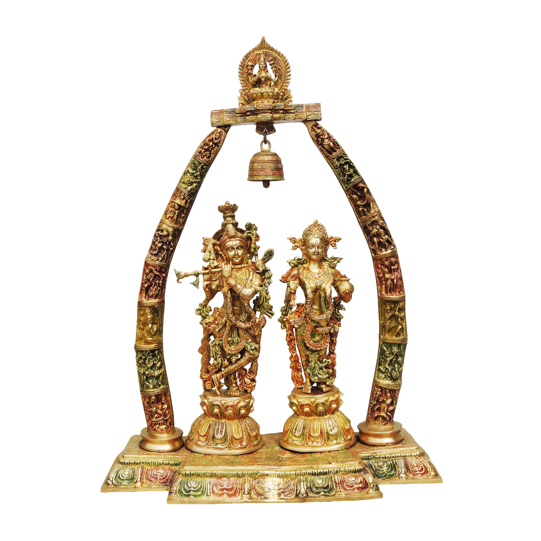 Brass Radha Krishna Dharbar In Multicolour lacquer Finish - 24.5*9.8*31.7 Inch  (BS301 B)