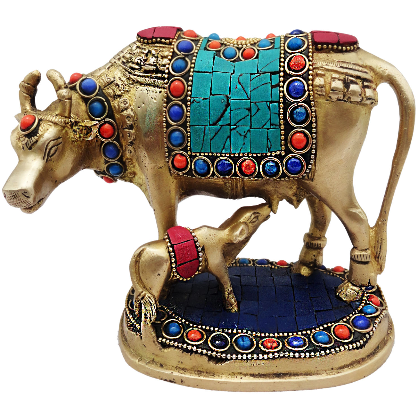Brass Cow With Calf Gaye Bacdha with Turquoise Coral stone work- 53.55.5 Inch  BS210