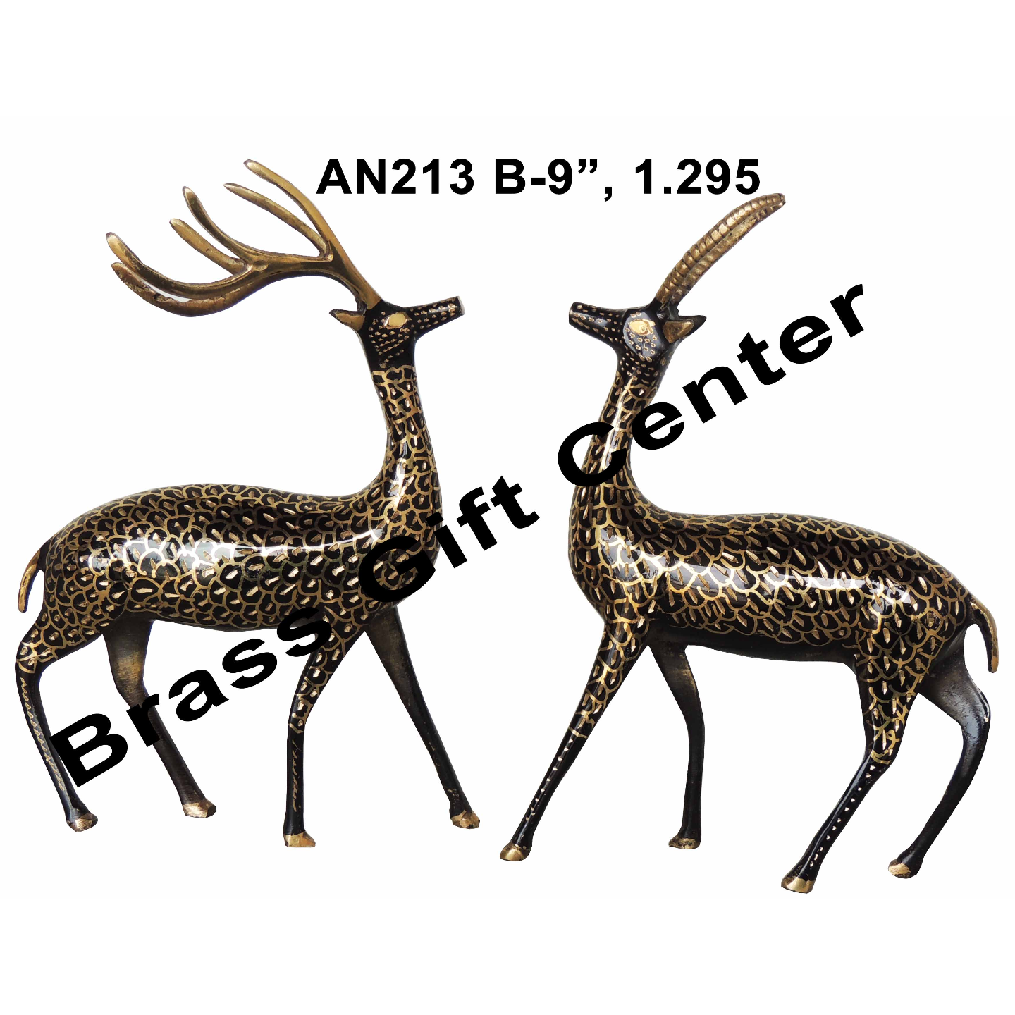 Brass Showpiece Deer Pair Statue With Black Finish, Height 9 Inch AN213 A