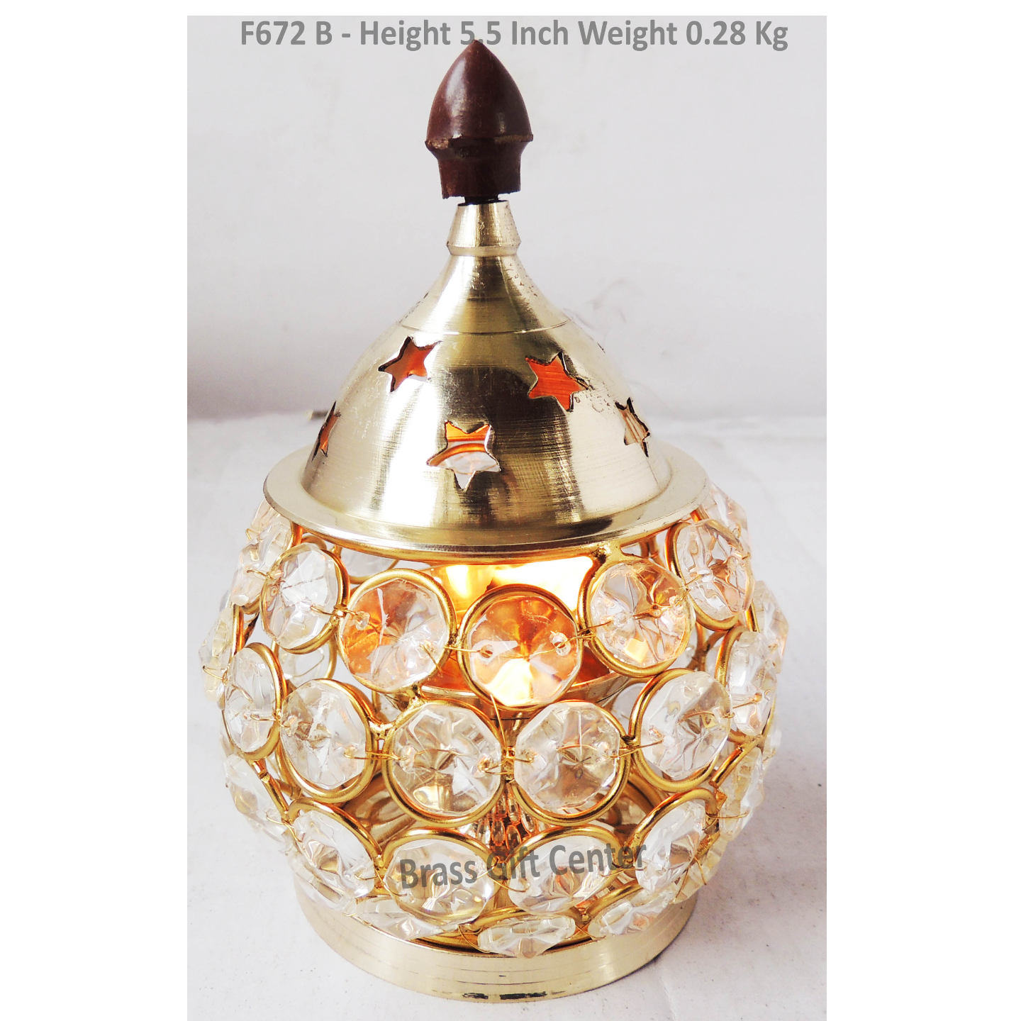 Brass Oil Lamp Deepak With Crystal Beads Height 5.5 Inch (F672 B)