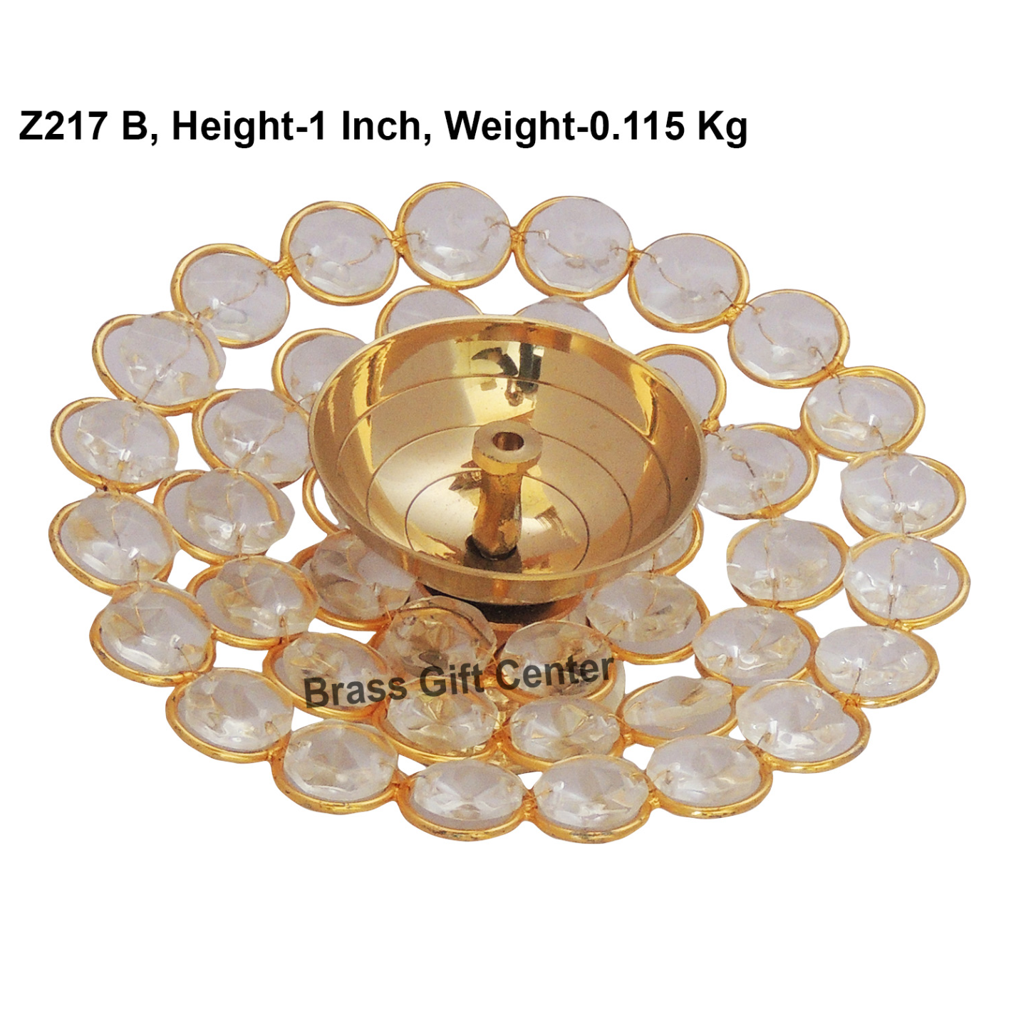 Brass Deepak With Crystal beads desing - 5 inch  (Z217 B)