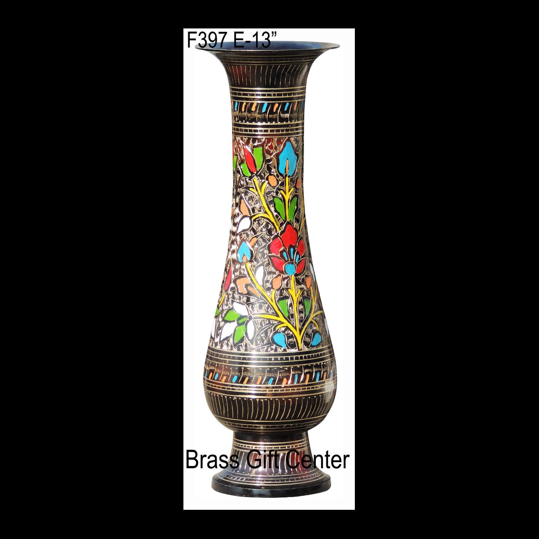 Brass Coloured Flower Vase with handwork - 4.5*4.5*13 Inch  (F397 E)