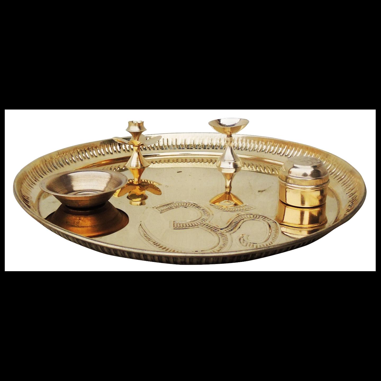 Brass Puja Thali with Deepak, Roli and Rice holder and Agarbatti Stand Brass Pooja & Thali Set - 10.6 Inch (Z003 X)