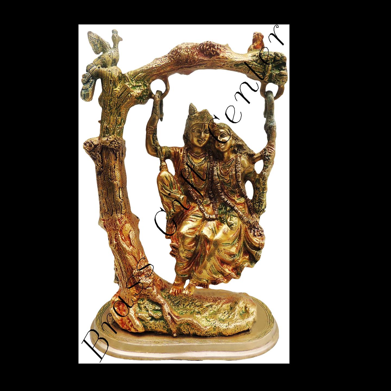 Brass Radha Krishna Jhula Staute Idol Murti in Multicolour lacquer finish - 10615 Inch  BS403