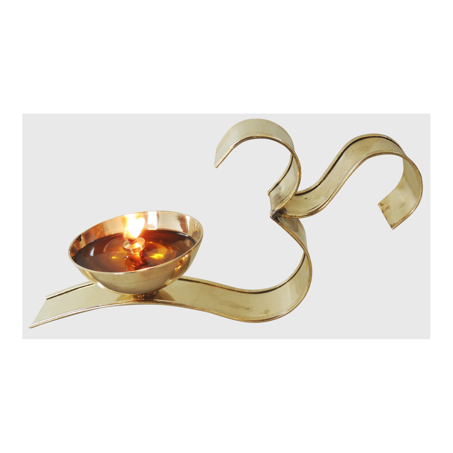Brass Om With Attached Deepak - 4 Inch, No. 4,  (Z489 D)