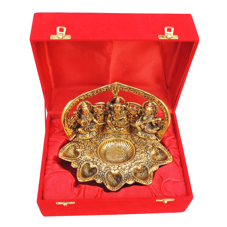 Showpiece Laxmi Ganesh Saraswati With Attached 5 Deepak In Gold Finish - 5 Inch AS378 G