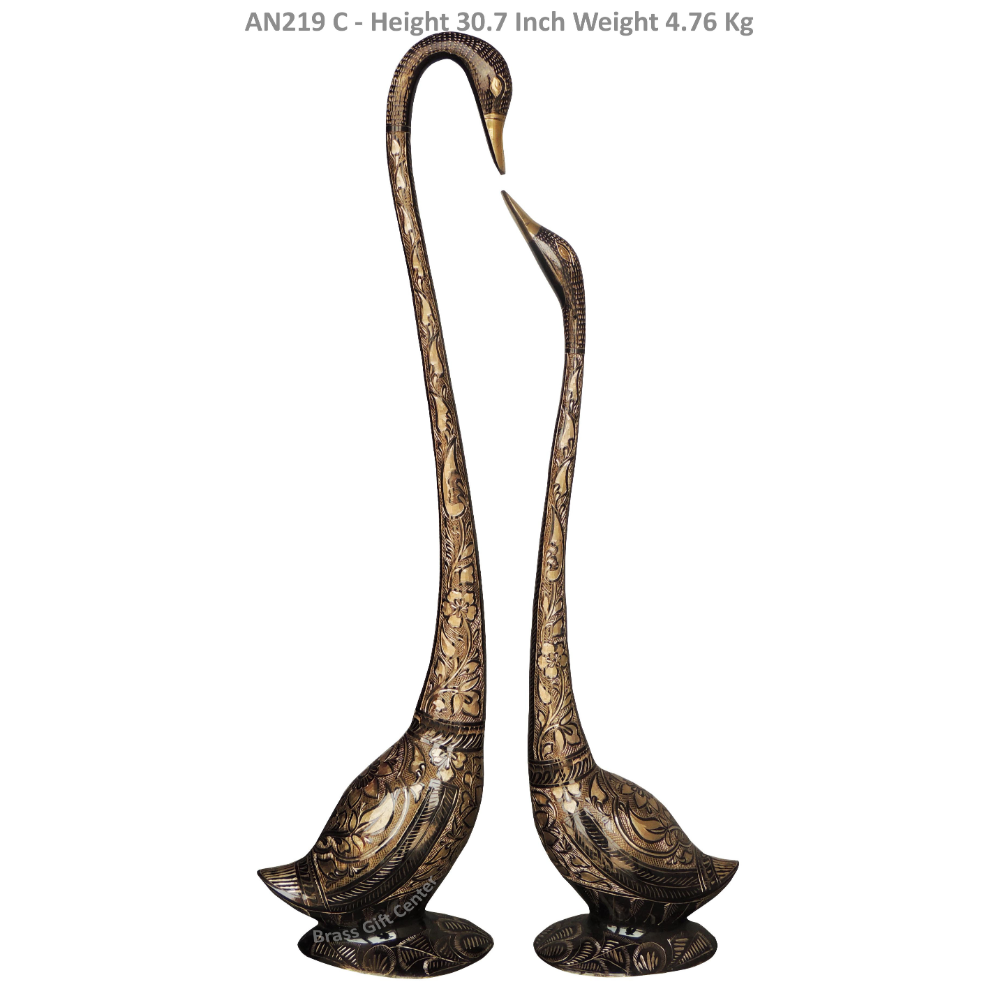 Brass Showpiece Duck Pair With Steel Finish Height - 30.7 Inch AN219 C