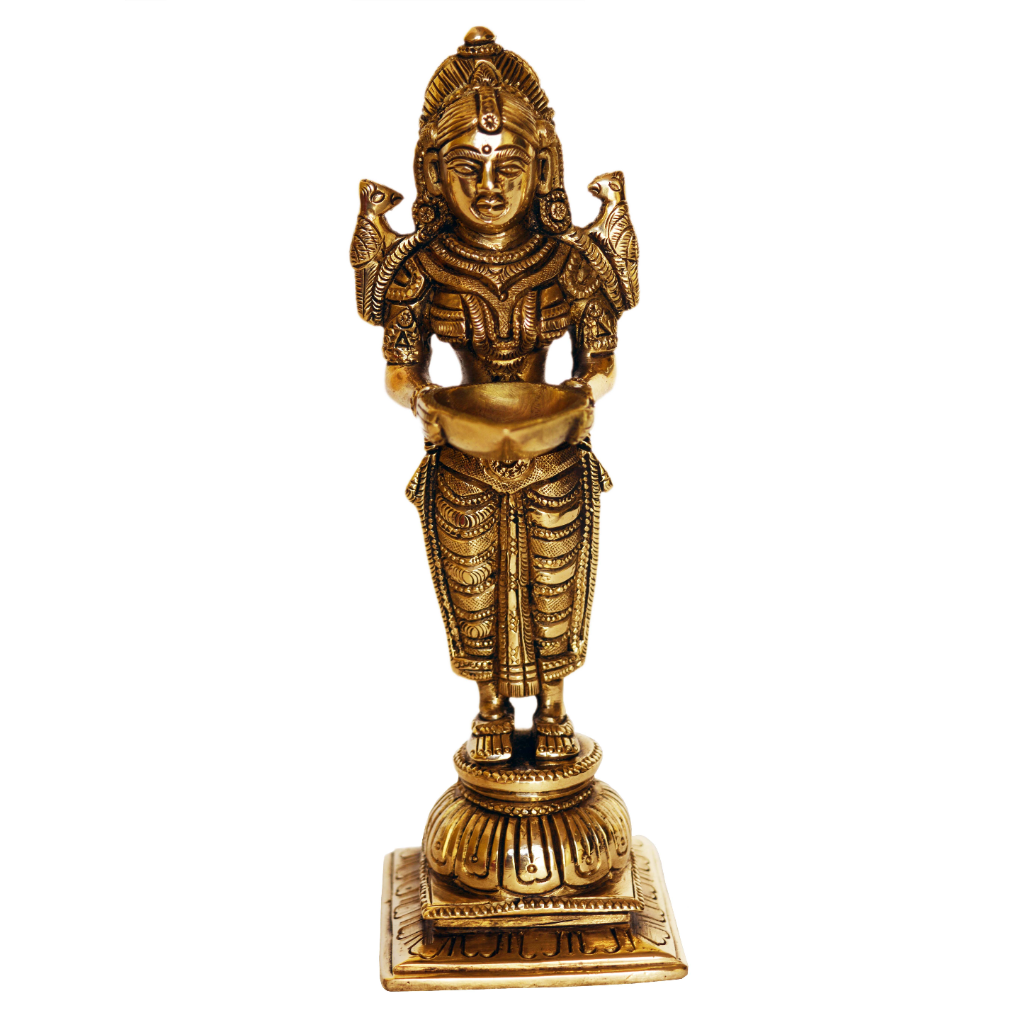 Beautiful Deep Lakshmi Statue made of Brass Decorative Murti With Elegant Finish - 8 Inch (BS1191 A)