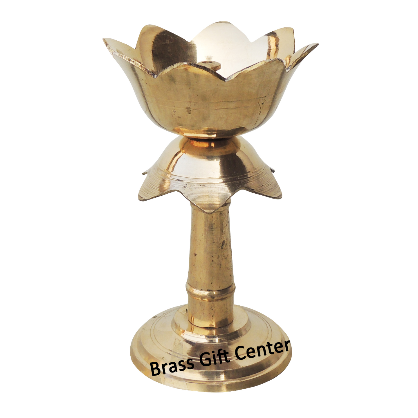 Brass Lotus Shape Deepak With Stand In Brass Finish - 6 Inch F634 F