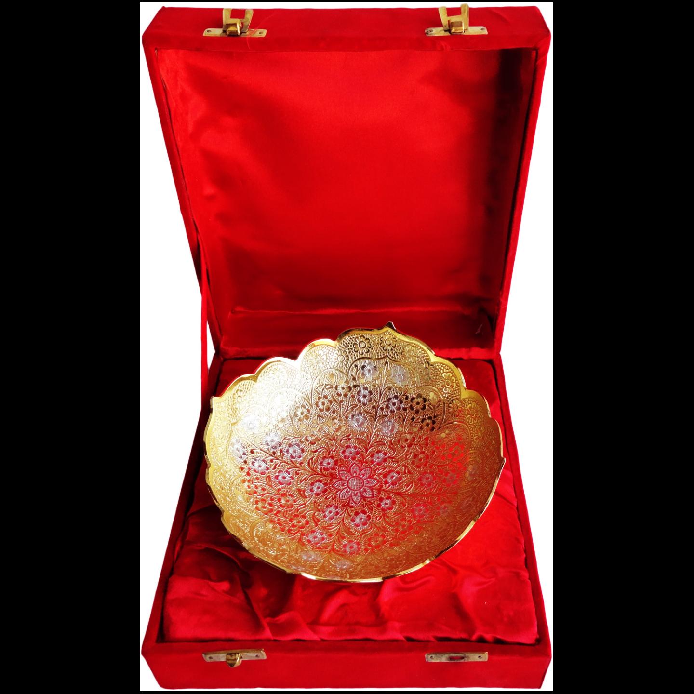 Brass Bowl With Brass & Silver Finish - 7 Inch (B058)