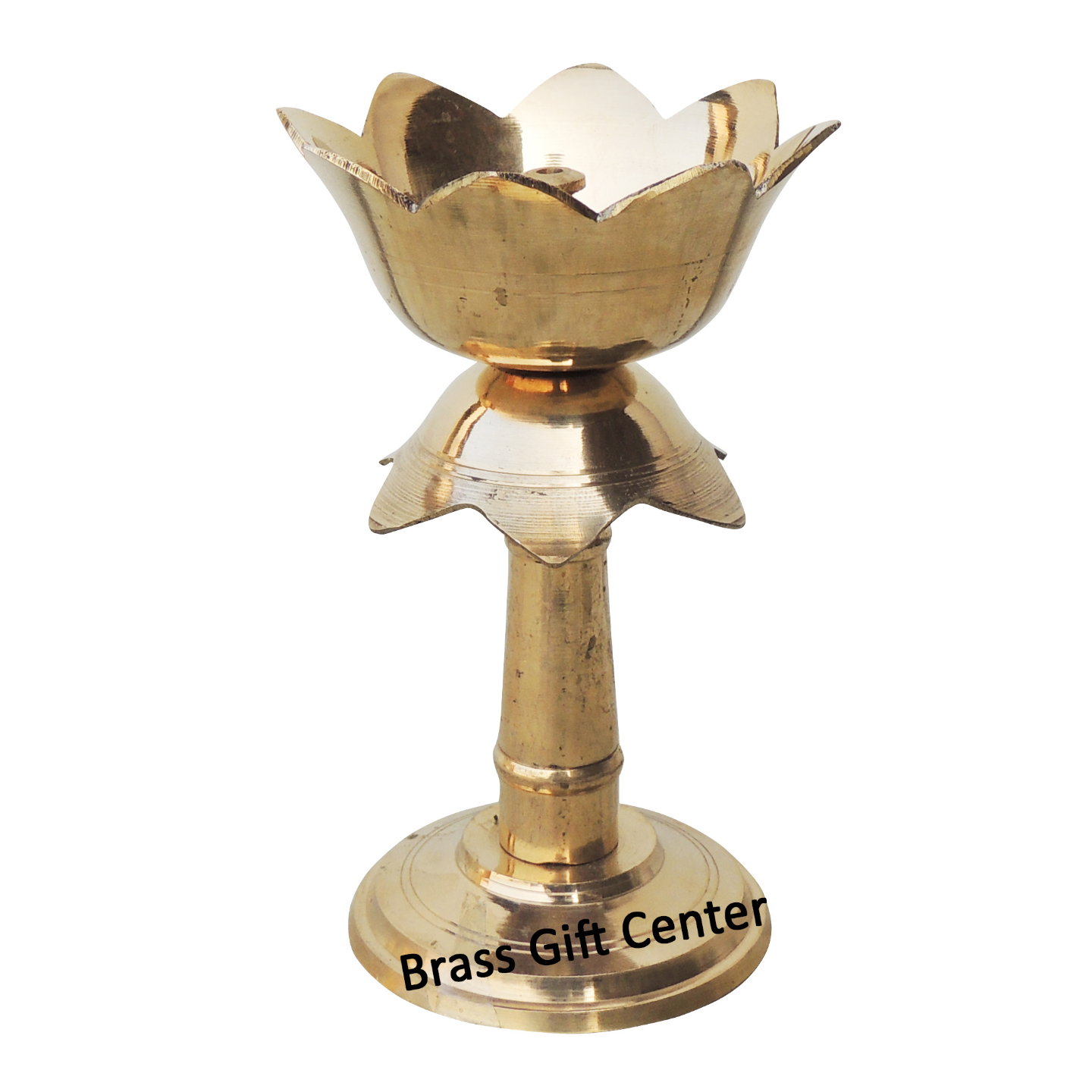 Brass Lotus Shape Deepak With Stand In Brass Finish - 5.5 Inch F634 E