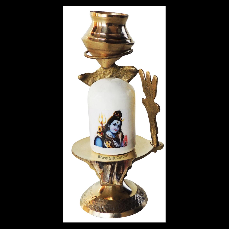 Brasss Temple Shivling - 3.8 Inch Z462 A