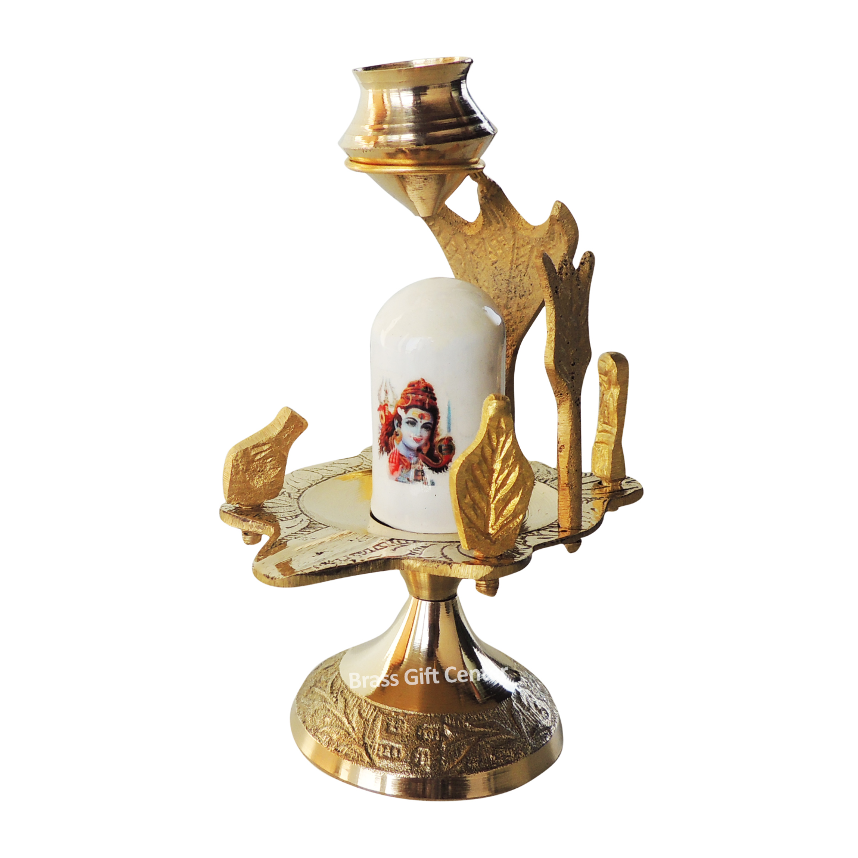 Brasss Temple Shivling - 4.7 Inch Z463 C