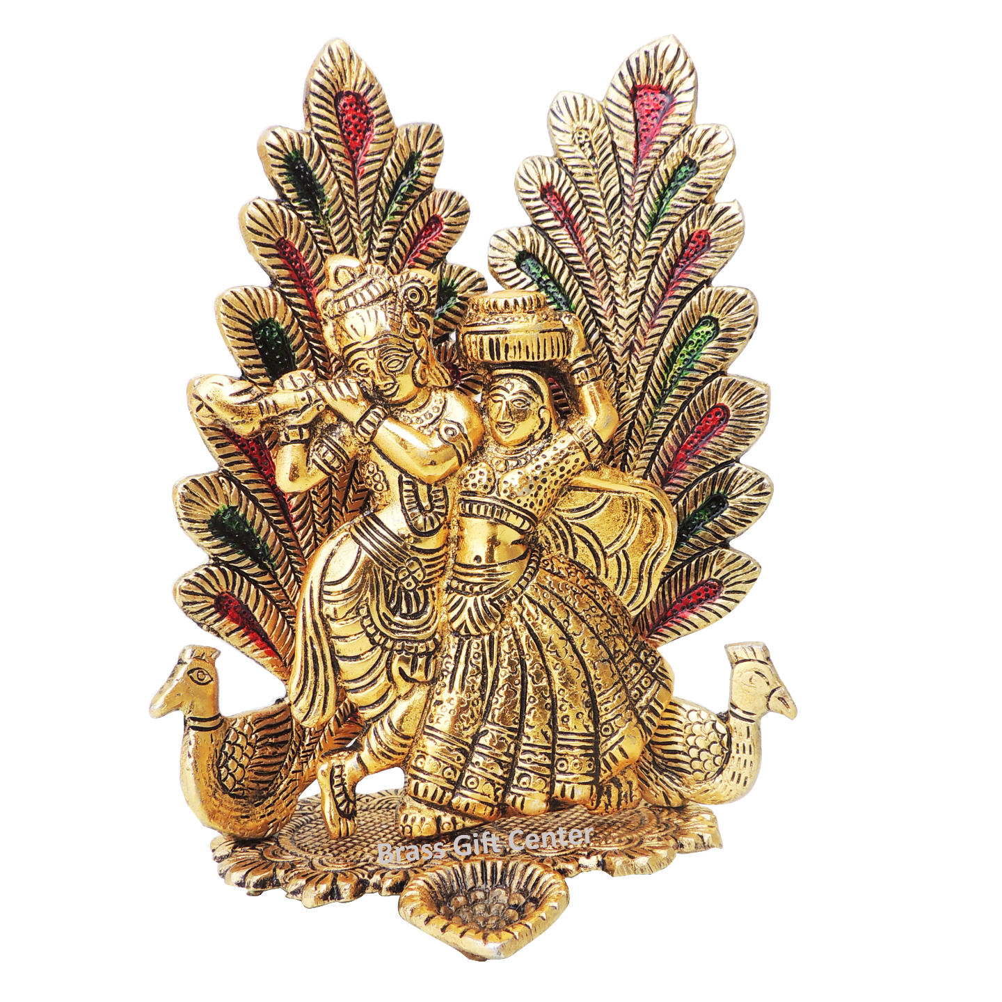 Showiece Radha Krishna Sitting On Peacock In Gooden Finish - 8 Inch AS373 G