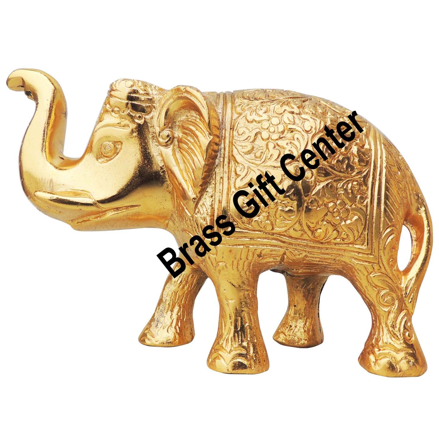 Showpiece Elephant Statue With Gold Finish, Height 3.5 Inch (AS240 A)