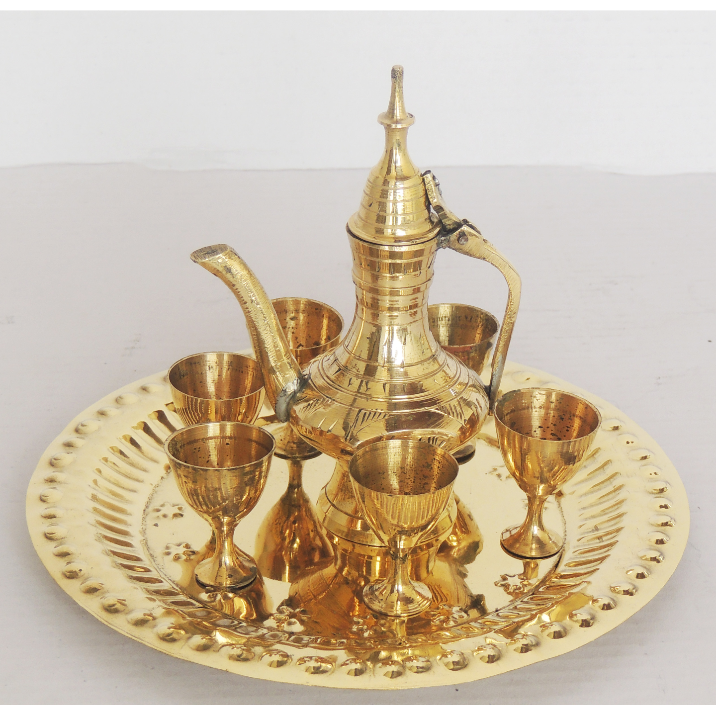 Brass Mini Miniature Wine Set for Children Playing  (Z247 A)6.2*6.2*4.2