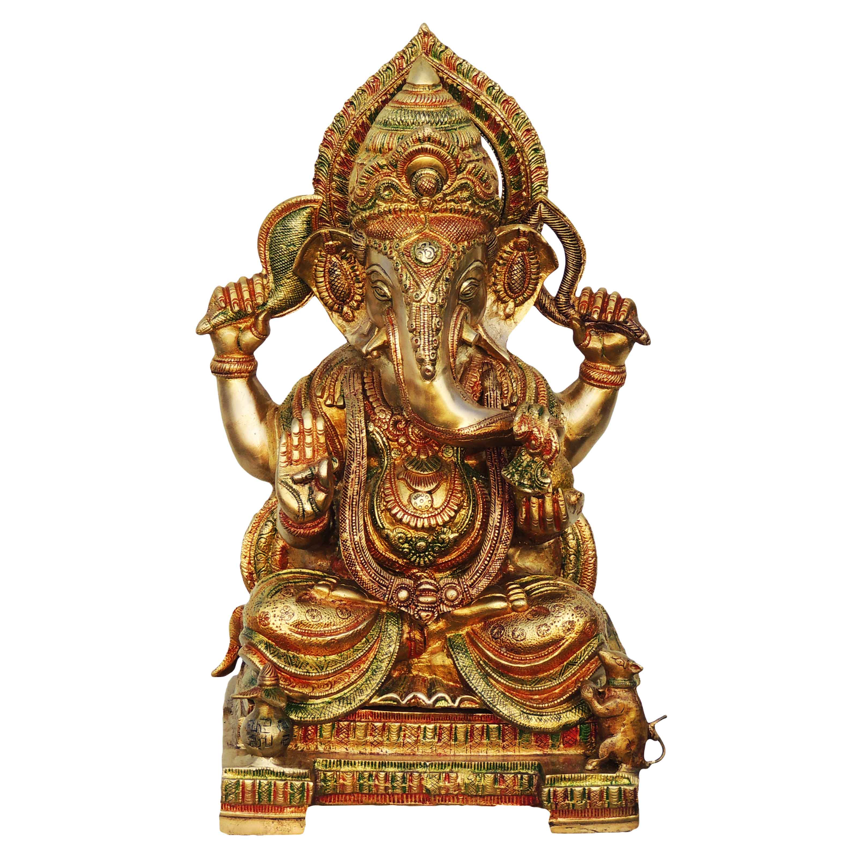 Brass Ganesh Statue In Multicolour Lacquer Finish - 18 Inch  (BS492 C)