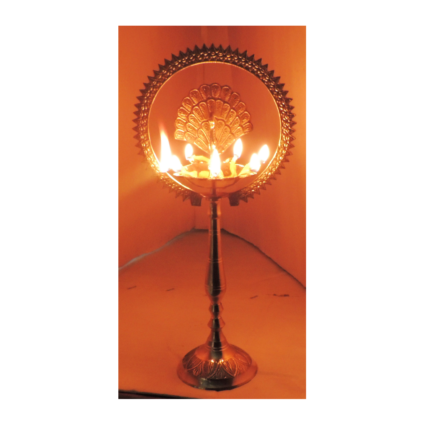 Brass Table Decor Oil Lamp Deepak With Brass Finish - Height 12 Inch (F656 F)