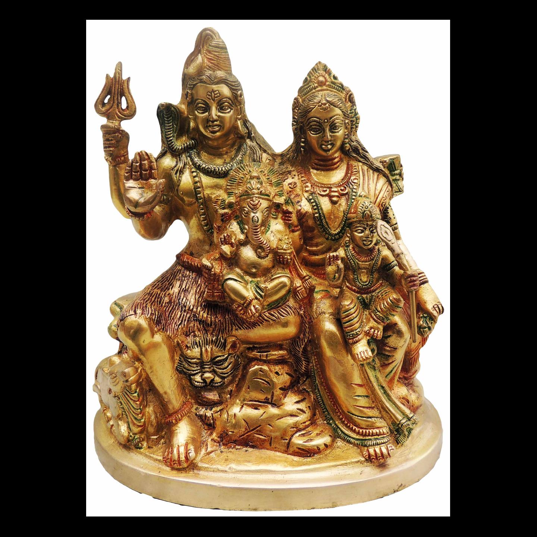 Brass Shiv Parivar (Family) On Same Base - 10 Inch (BS493 A)