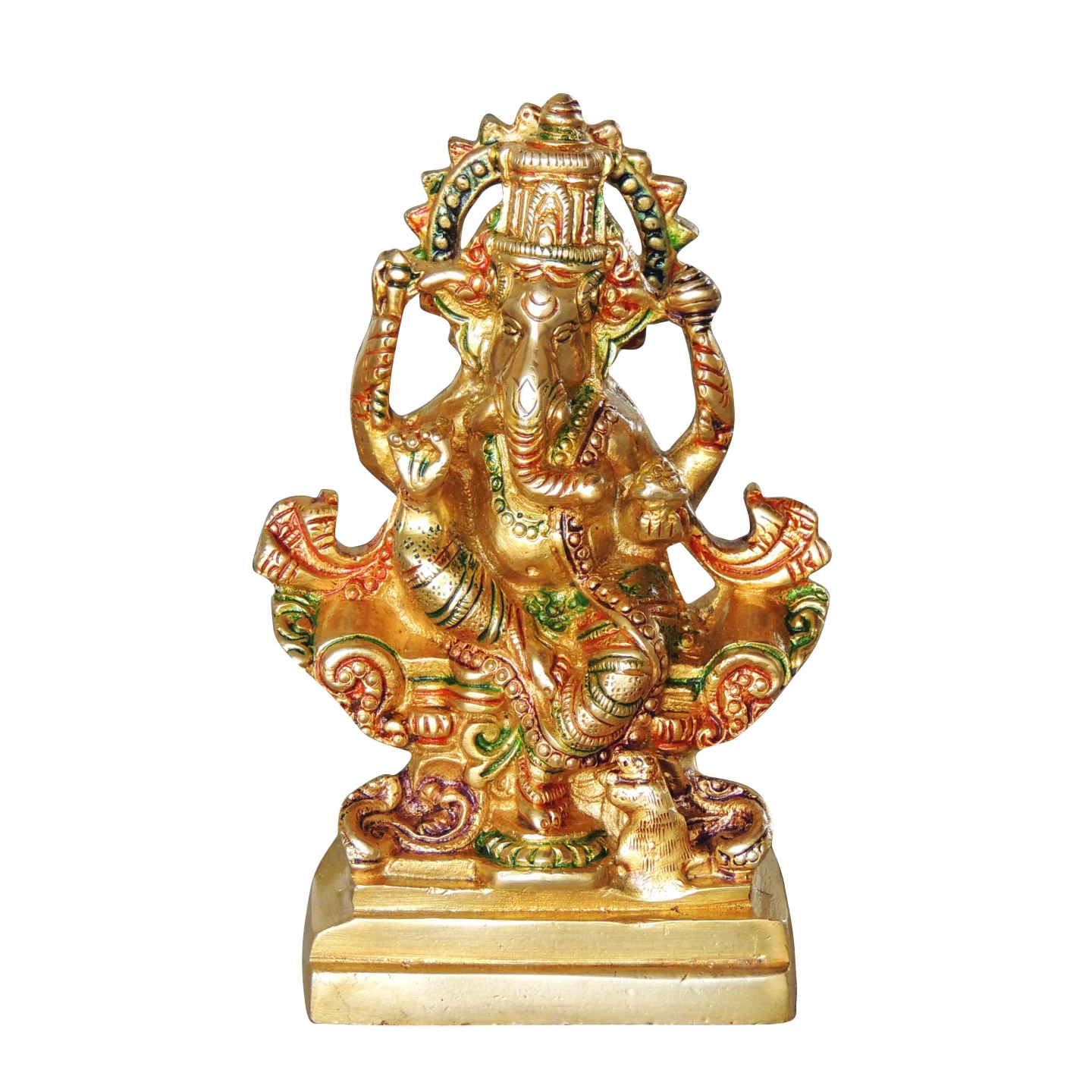 Brass Ganesh Statue Murti Idol in MultiColour Lacuquer Finish - 6.8 inch (BS1064 G)