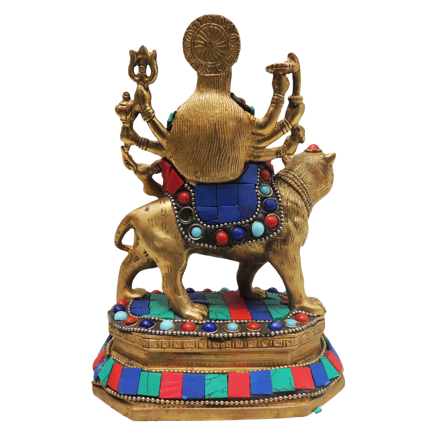 Durgaji Sitting on Tiger with Truquoise coral stone work - 6.5 inch 1.3 kg (BS524)