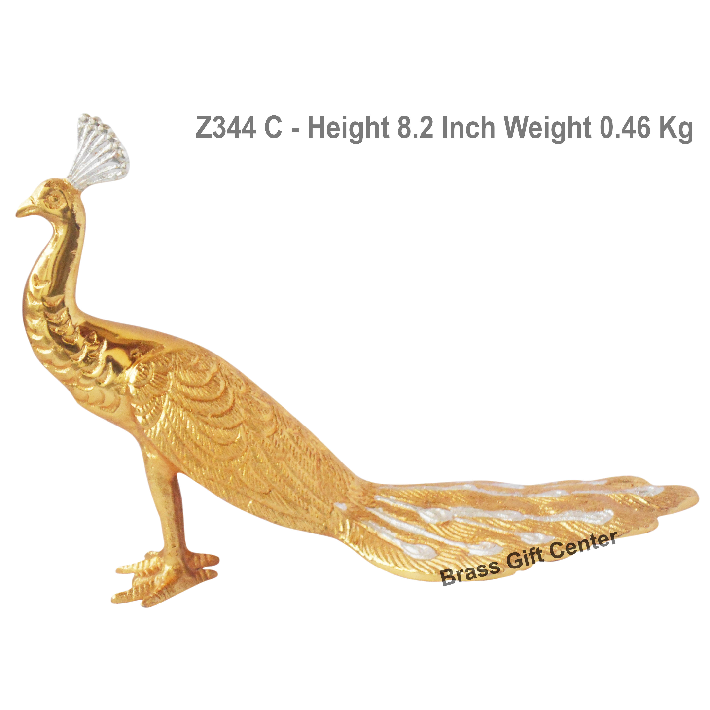 Aluminium Peacock With Gold And Silver Finish - 11.6*5*8.2 Inch (Z344 C)