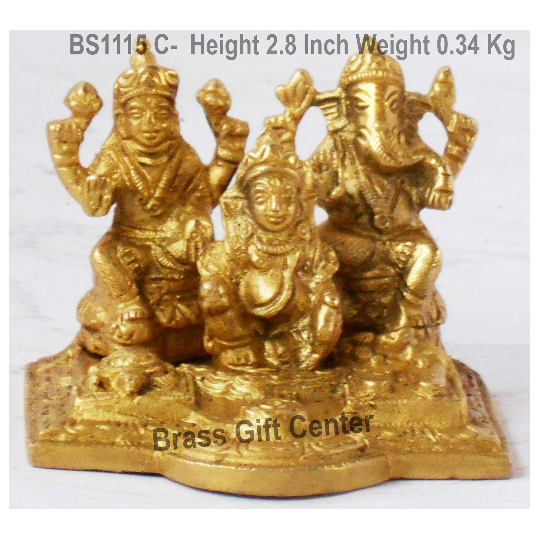 Brass Showpiece Ganesh Ji With Kuber Mahraj In Brass Finish - Height 2.8 Inch BS1115 C