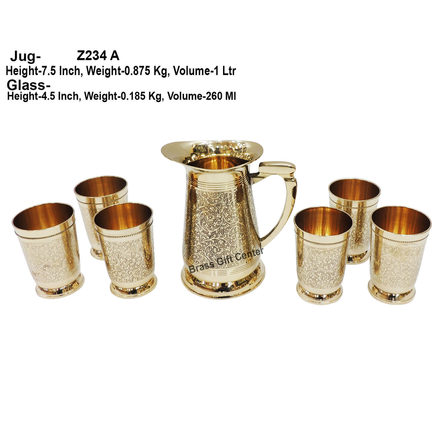 Brass Glass Lemon Set 1 Jug And 6 Glass  Z234 A