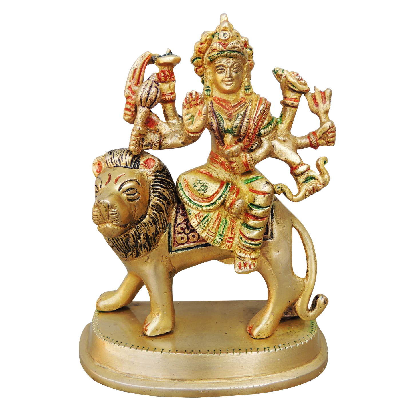 Brass Durga Ji StatueMurtiIdol With Multicolour Lacquer Finish-5.7 Inch BS937 A