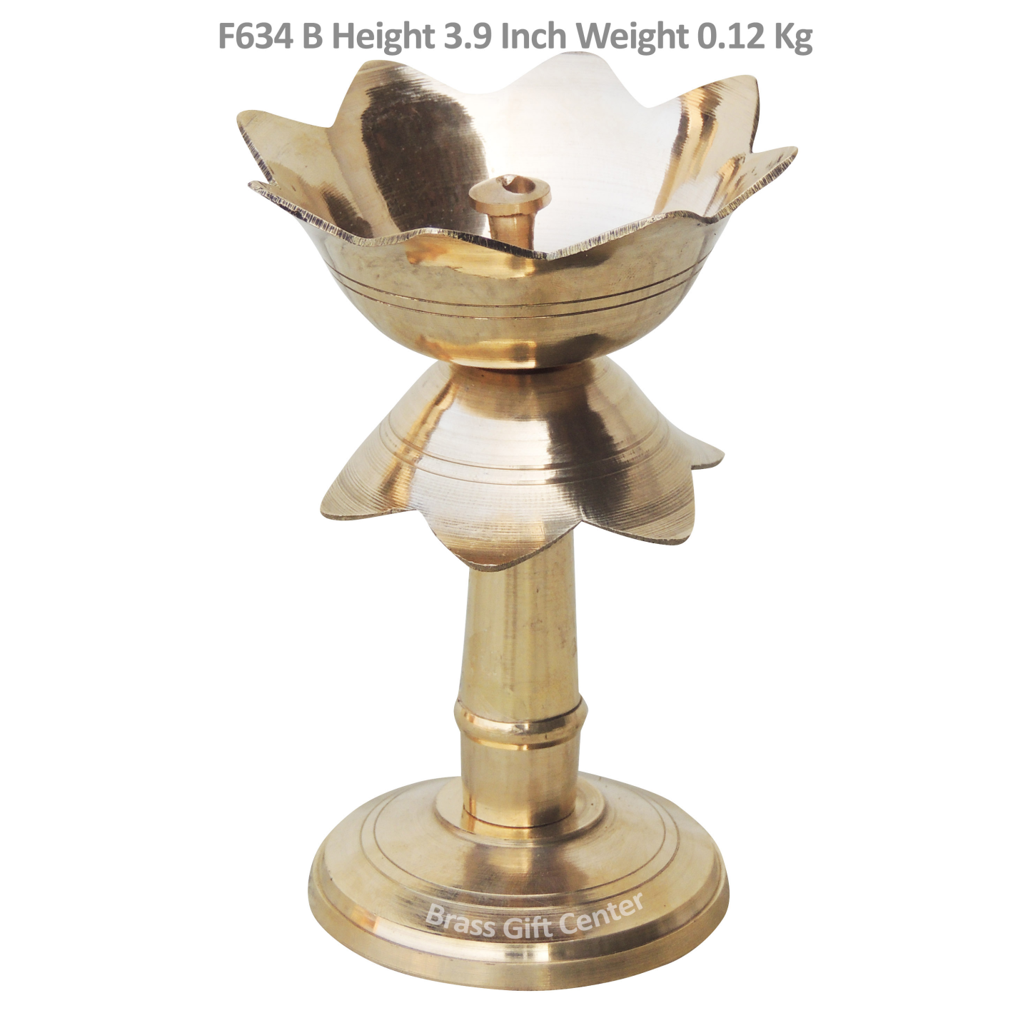 Brass Lotus Shape Deepak With Stand - 3.9 Inch (F634 B)