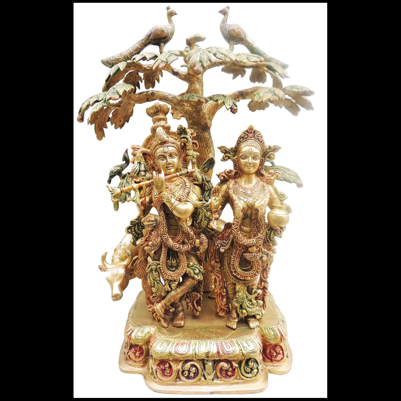 Brass Radha Krishna Cow Under Tree Staute Idol Murti in Multicolour lacquer finish- 17.5*10*24 Inch  (BS500)