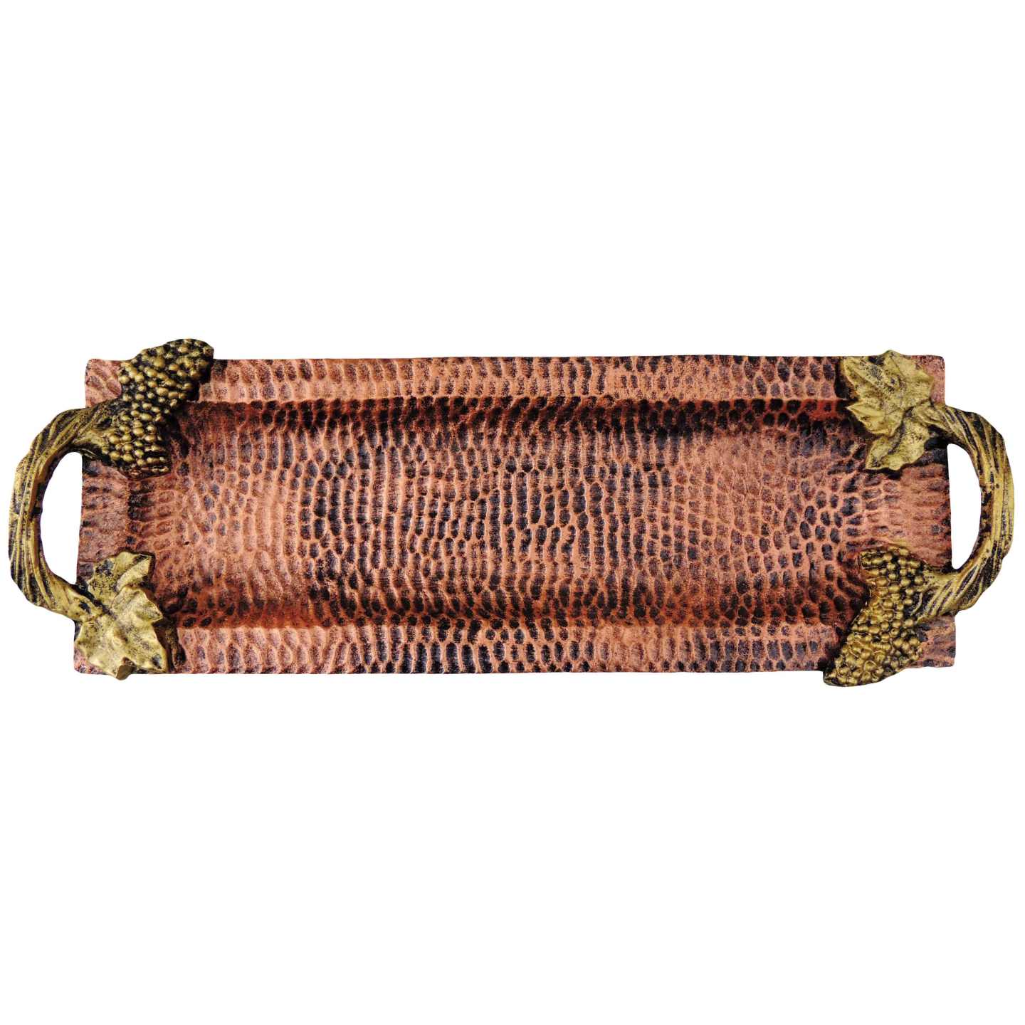 Aluminium Metal Tray Serving Platter Hammered Copper finish- 17*6 Inch  (A1611/17)