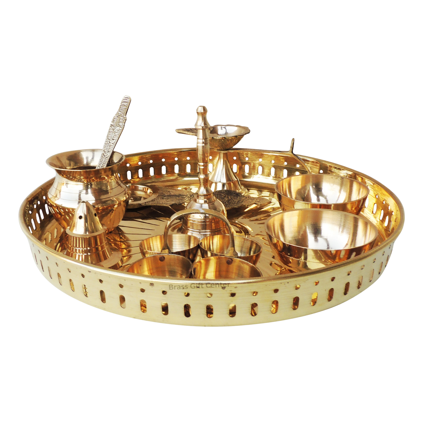 Brass Pooja Thali Set With Multiple Items - 9.8 Inch (Z476 C)
