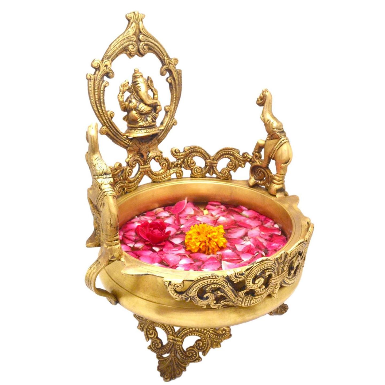 Brass Urli With Decorative Design & Lord Ganesh (BS1147 A)