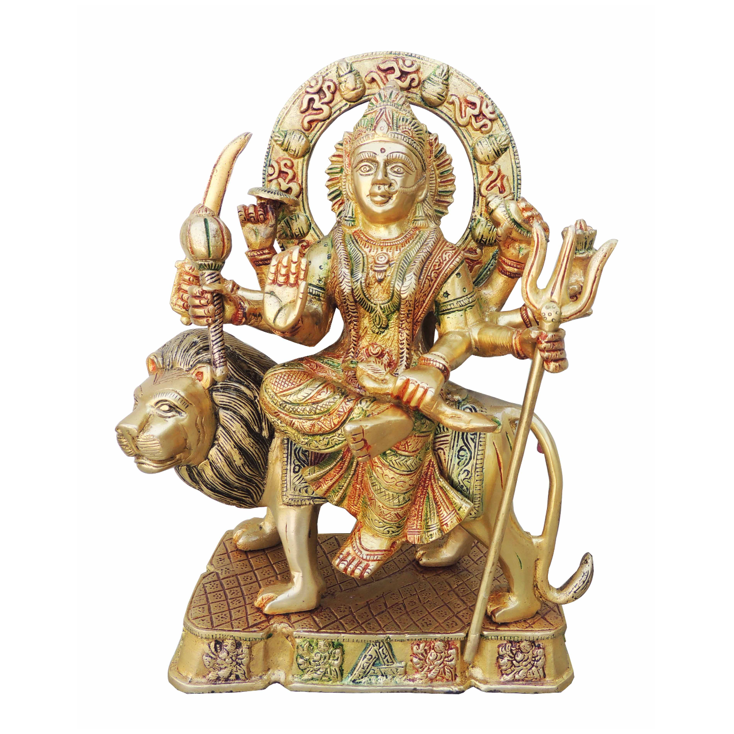 Brass Durga Ji StatueMurtiIdol With Multicolour Lacquer Finish-12 Inch BS937 Y