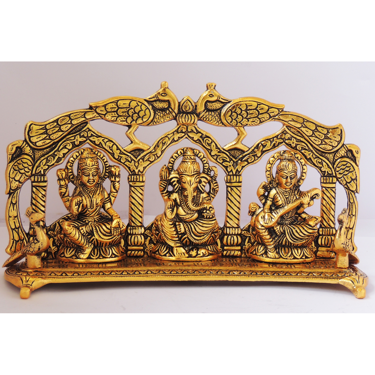 Laxmi Ganesh Saraswati LGS Statue Murti Idol In Gold Antique Finish 11x2.5x6 Inch (AS297 G)