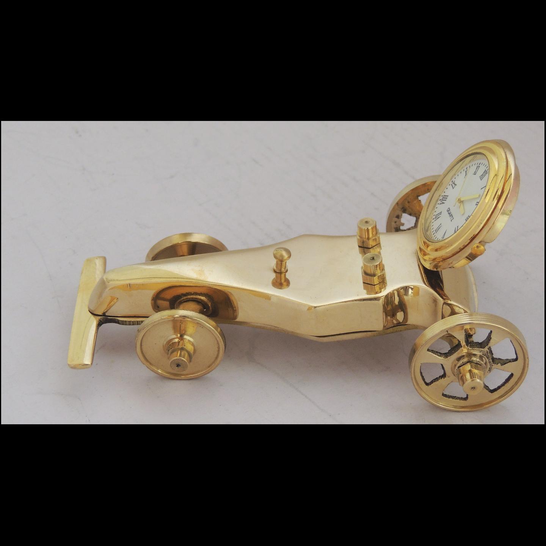 Brass Small Car With Clock - 4.7x3x2.3 Inch  (Z245 A)