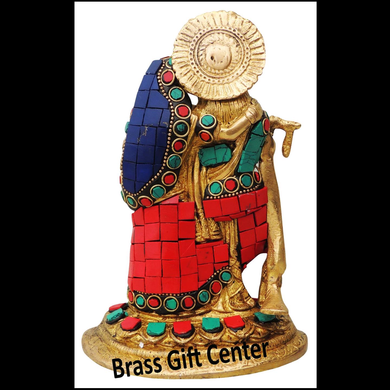 Brass Radha Krishna Staute Idol Murti Studded with Turquoise Coral stone work- 53.57.5 Inch  BS836 B