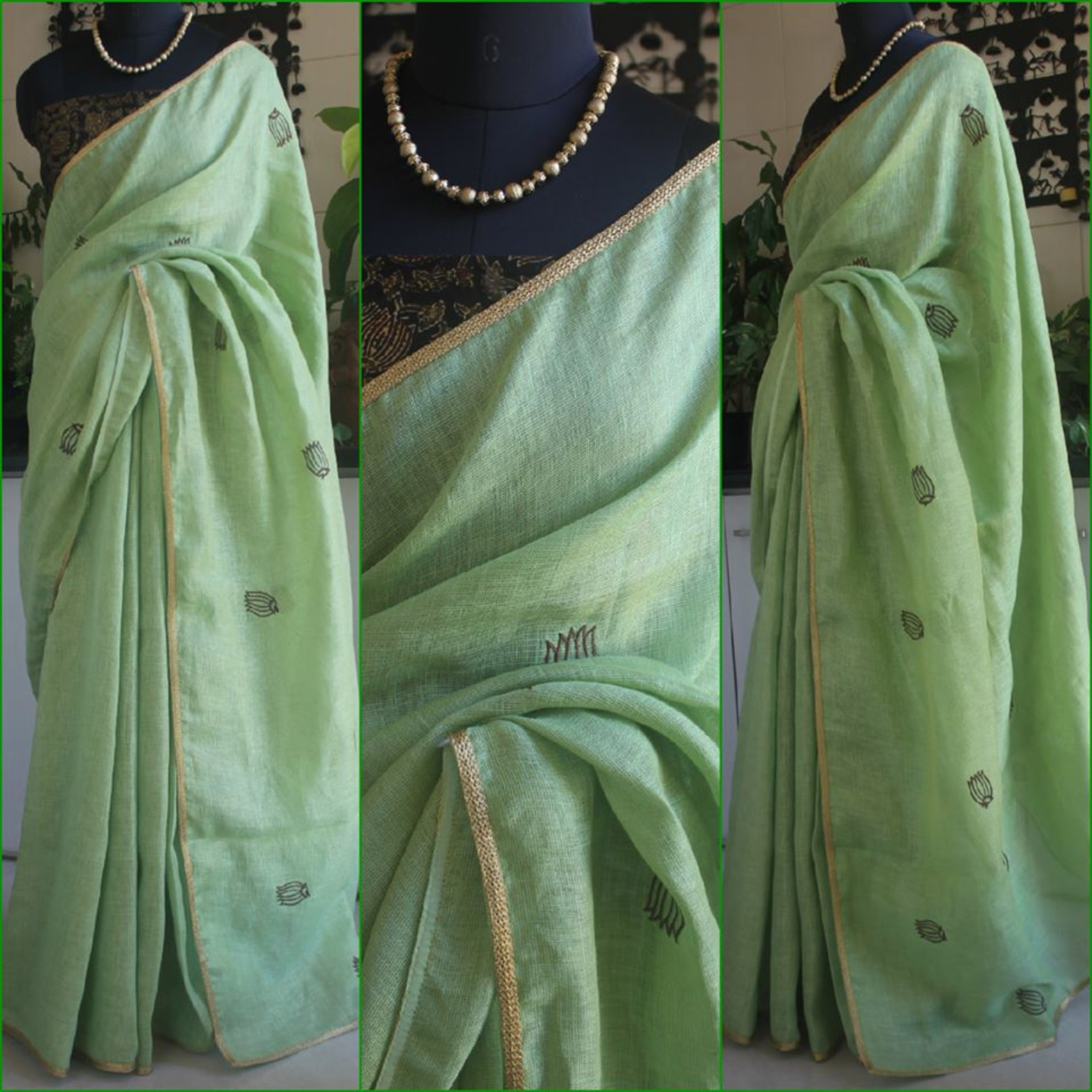 Soft Pista Green Linen Saree