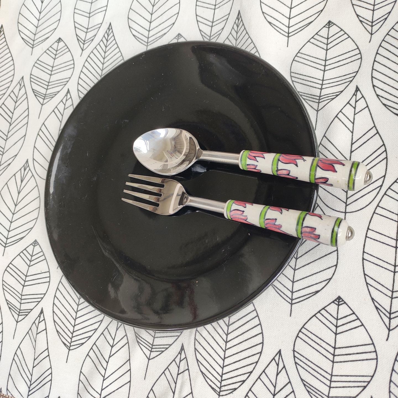 Ceramic Lotus Pink and Green Forks