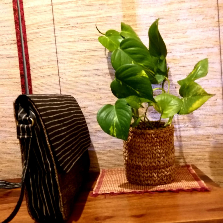 Sling Bag in Black Banana Fibre