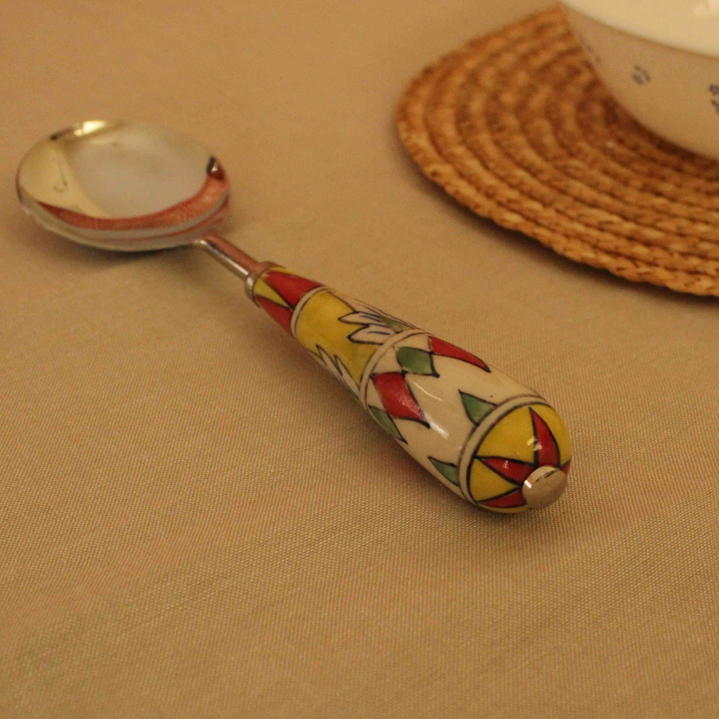 Geometric Pattern Ceramic Serving Spoon