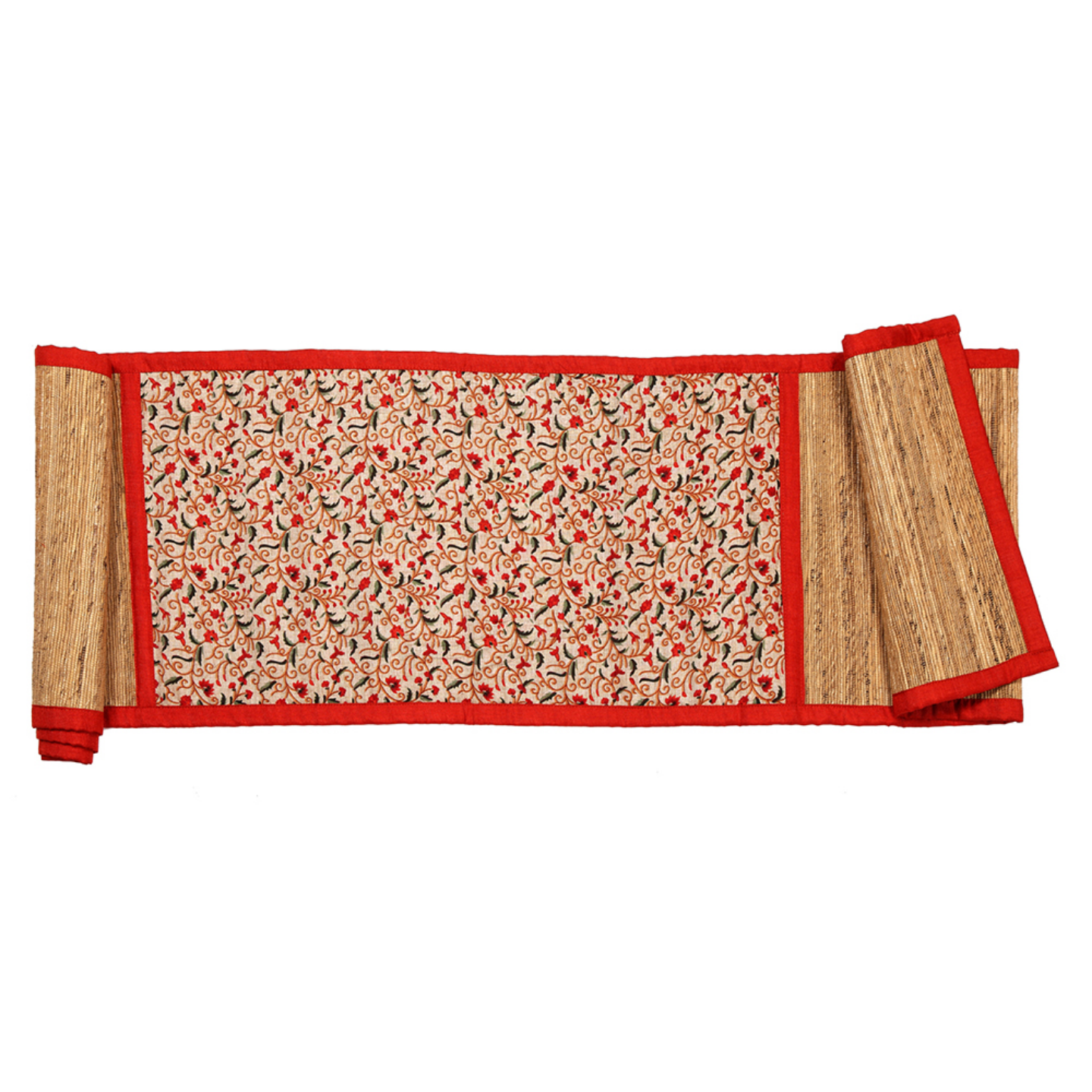 Red Piping Runner With Central Print
